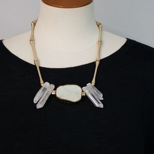 Hoss Intropia Gold Tone  Crystal Necklace NWT